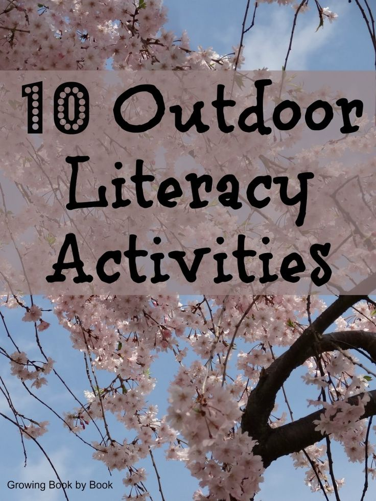 outdoor learning literacy activities for kids from growingbookbybook.com