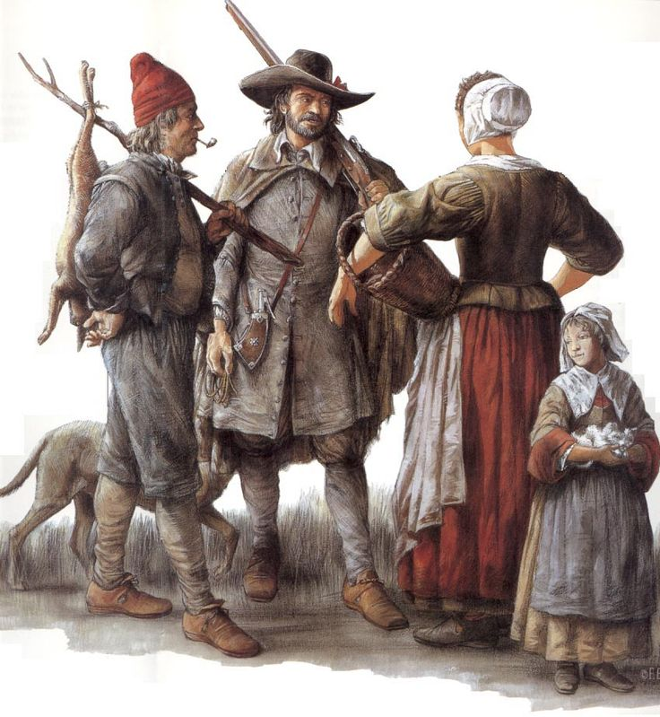 Canadians by Francis Back. Townspeople of the 1690s. Not the sort of things worn on campaign but many of the Miliciens who would have defended Quebec against Phips attack in 1690 would have looked like this.