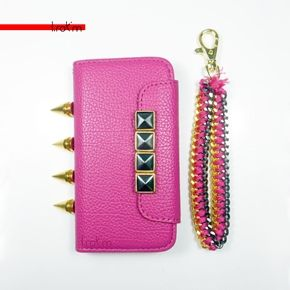 iPhone 5C Hot Pink Gold Framed Gun Metal Studded Flap Chain Knuckle Spikes Option  ***********Shop now and use the code :REPIN to get 15% off and get FREE shipping within the U.S...