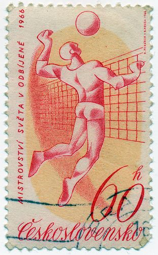 This stamp from 1966 commemorates the founding of the Volleyball World Cup in 1965.