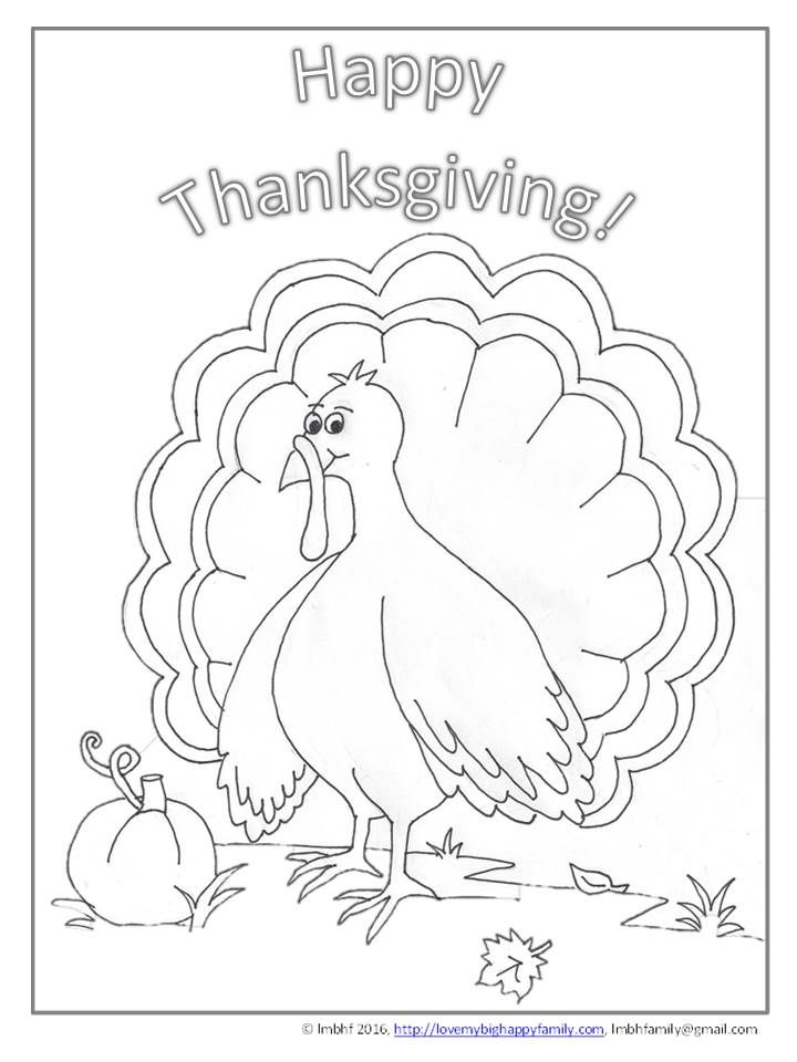 Happy Thanksgiving Turkey Coloring Page                                                                                                                                                                                 More