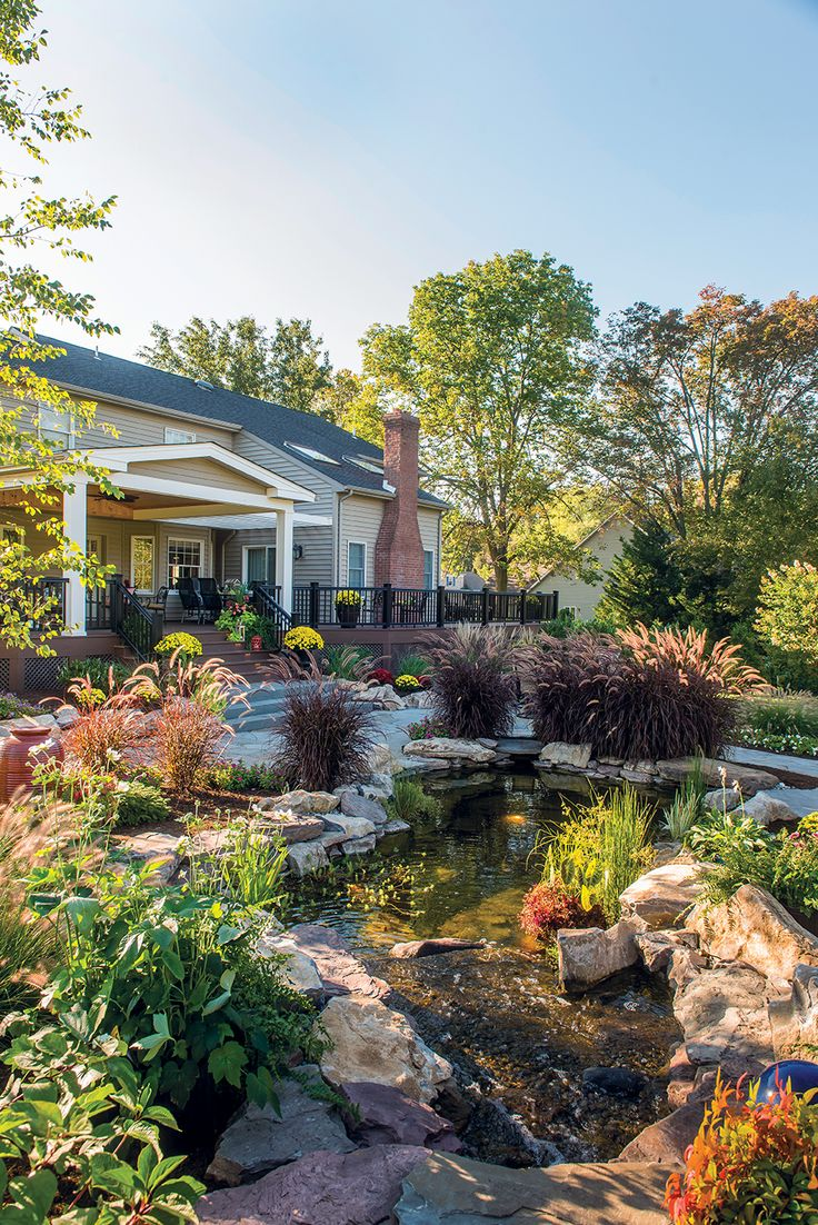 Plantings, Pond, Roof Structure, Patio And Deck By Gasper