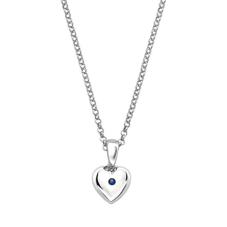 "Little Diva Diamonds Kids' Sterling Silver Lab-Created Sapphire Heart Pendant, Women's, Size: 16"", Blue"
