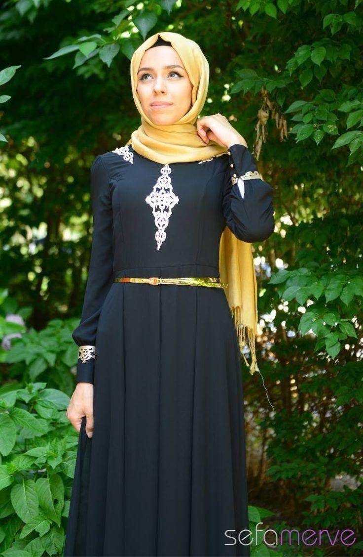 Tesettür Elbise FY 52051-01 Siyah