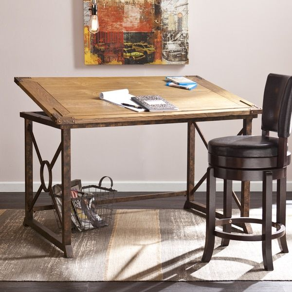 With a wide frame and ample work area, this industrial style Harper Blvd drafting table is perfectly proportioned for larger spaces. Its wood tilt-top in weathered oak reclaims a rustic look against t