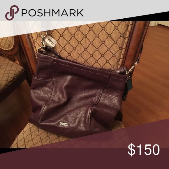 Coach leather handbag NWT Coach leather handbag NWT dark purple color Coach Bags Shoulder Bags