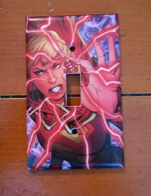 Red Lantern Supergirl comic light switch cover by PastePotPrefects