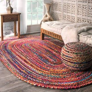 nuLOOM Casual Handmade Braided Cotton Multi Rug (3' x 5' Oval) | Overstock.com Shopping - The Best Deals on 3x5 - 4x6 Rugs