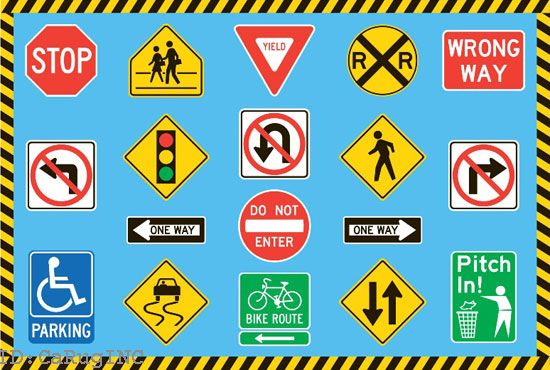 5x7 Educational Area Rug Traffic Sign Driving Signals Blue Color ...