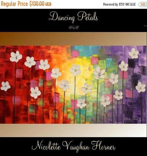 Acrílico de arte abstracto contemporáneo moderno empaste original sobre lienzo Para ver más de mi arte de firma única, haga clic aquí www.etsy.com/shop/artmod  ¤´¨) ¸.·´¸.·*´¨) ¸.·*¨) (¸.·´ (¸.·`¤ ~ Sobre la pintura ~ ¤  Título... Danza de pétalos Textura con un montón de colores brillantes felizes y con flores de grueso empaste blanco. Dimensiones: 48 x 24 x 1    Lienzo de la galería de alta calidad, made in USA, bordes pintados - listo para colgar en pared, lados no pintado n...