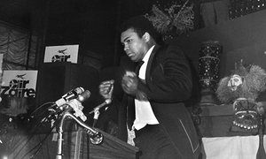 Muhammad Ali reacts during a New York press conference promoting the upcoming fight against George Foreman in May 1974. Photograph: The Ring Magazine/The Ring Magazine/Getty Images