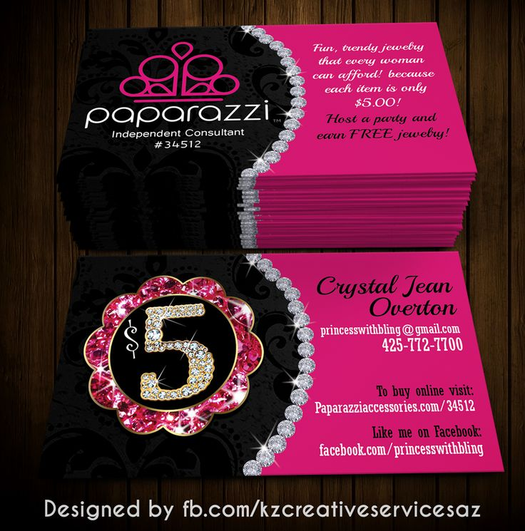 Paparazzi Business Cards Style 3 183 Kz Creative Services