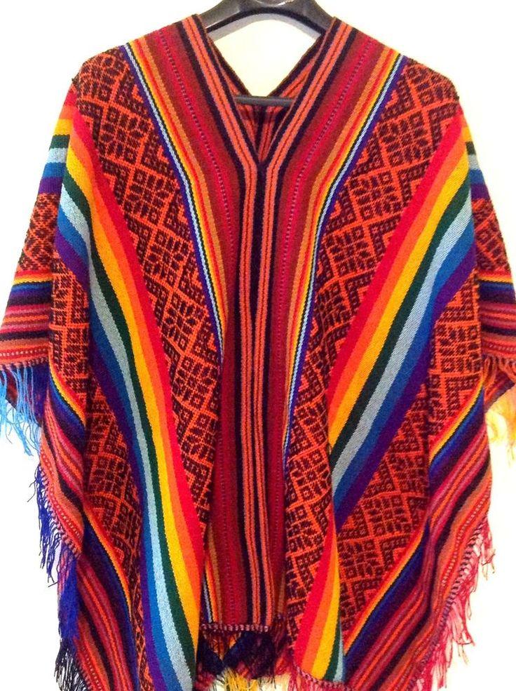 Peruvian Poncho Cape Andean Mountain Woven Textile