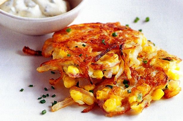 Sour cream and chive dip gives these tasty corn fritters a double dose of flavour.