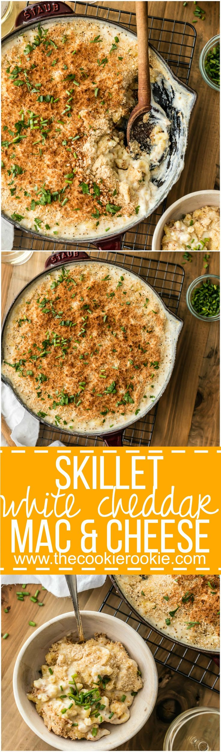 Large Batch Skillet White Cheddar Mac and Cheese is the perfect EASY ONE POT DINNER for any week night! So much cheese and so much flavor! Made in minutes in on