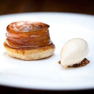 Kikkoman soy compressed apple tarte tatin with caramel ice cream | FOUR Magazine