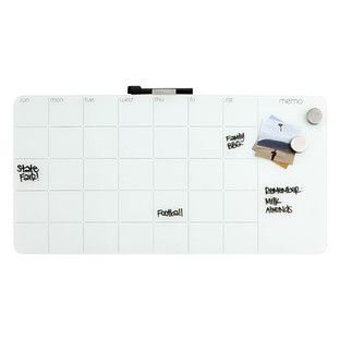 Plan your life in advance and in style with our Monthly Magnetic Glass Dry Erase Board. Taking on a sleeker look than a traditional dry erase board, this glass board cleanly gives you the canvas to fill in dates, and an entire notes section on the right.