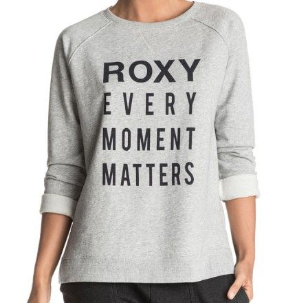"""Sweat Roxy Turn And Go - Pull pour femme gris a col rond Roxy avec écriture inscription citation """"Every Moment Matters"""" - Pull jogging sportswear fitgirl"""