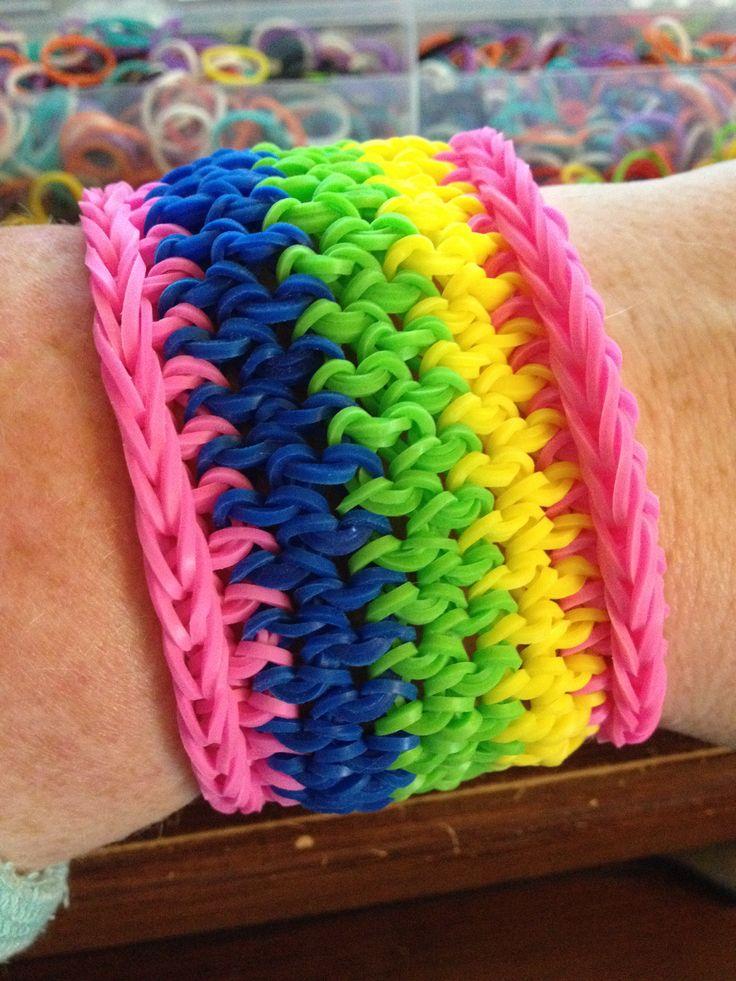 Tennis bracelet rainbow loom. Reversible.