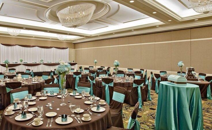 Wedding decor chocolate brown tealaqua accents