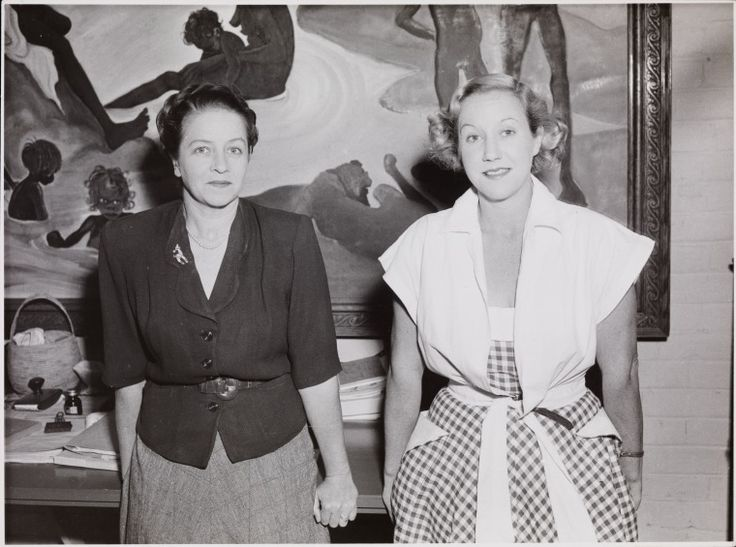 BA2749/2225: Mary Durack Miller and Elizabeth Durack in Elizabeth's home with one of her paintings in the background, ca.1951. http://encore.slwa.wa.gov.au/iii/encore/record/C__Rb4790342__SBA2749Lw%3D%3D2225__Orightresult__U__X3?lang=eng&suite=def