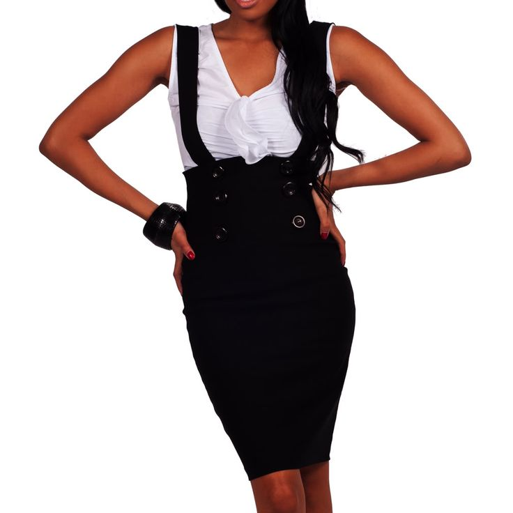 Black Career High Waist Button Suspenders Outfit Fitted Pencil Skirt Officewear | eBay