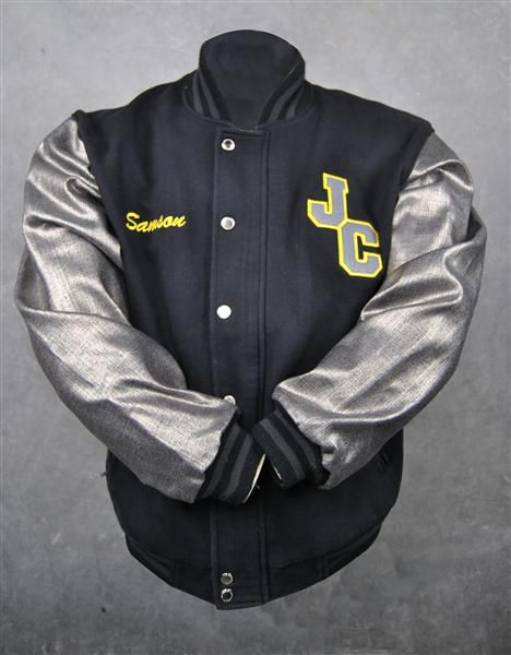 Justice Crew exodus baseball jackets black yellow silver denim