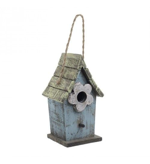 WOODEN BIRD HOUSE IN BLUE_GREEN COLOR 13Χ11Χ23