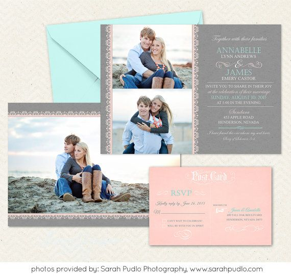 Wedding Invitation Template - Photographers and Photoshop users only - Item WA2203 on Etsy, $10.00
