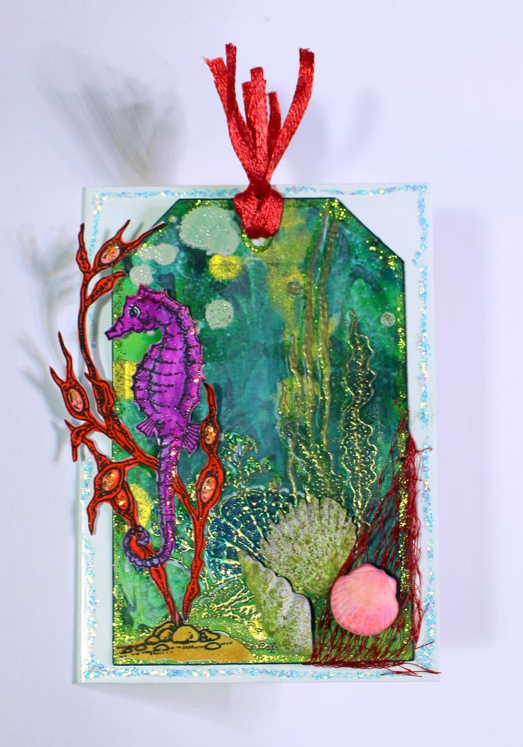 Sea world tag card created with Underwater, Mermaid Queen and Gothic Fragments stamp sets from Chocolate Baroque. Anne Waller. #chocolatebaroque #stamping #cardmaking