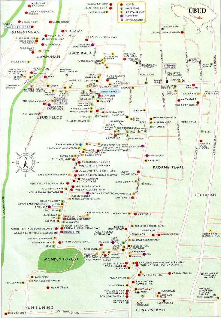 plan de Ubud et ses environs avec localisation des principales attractions. Village calme et hors du temps. C'est un endroit où il fait bon séjourner grâce à son climat plus doux et humide que sur les côtes. La maison Spies fait maintenant partie de l'hôtel Tjampuhan. La rue principale est Jalan Raya Ubud. Elle traverse d'Est en Ouest le centre de la ville, et compte les principales boutiques et galeries d'art de la ville. Le marché traditionnel se situe au croisement avec la Monkey Forest…