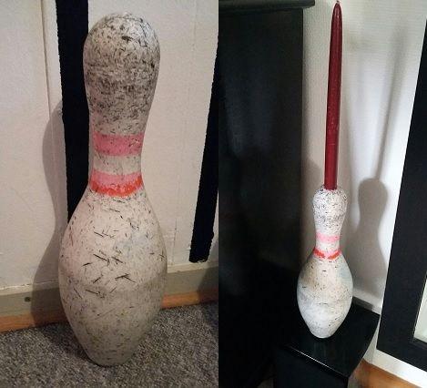 gammel bowling kegle lavet om til lysestage