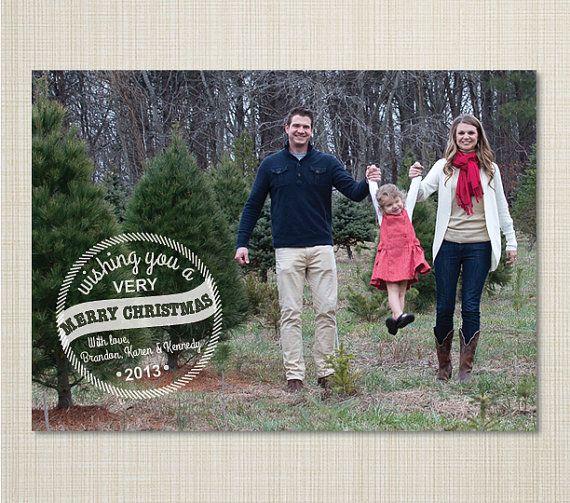 Photo Christmas Card  Photo Holiday Card  Simple by K2KreationsCo