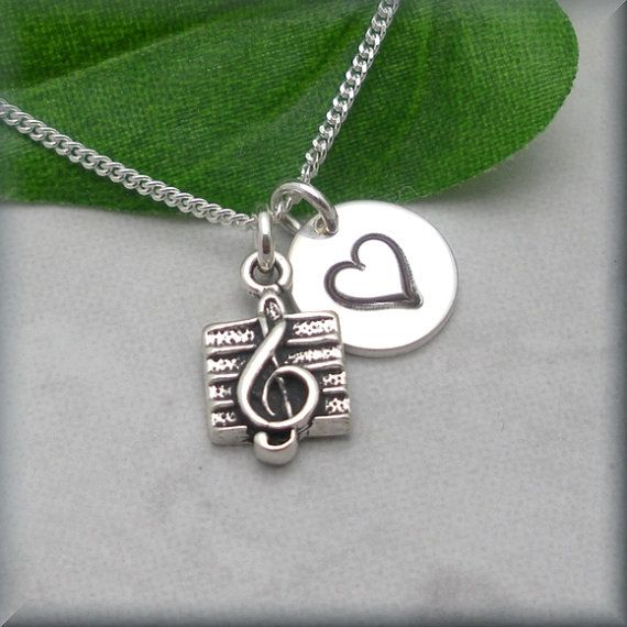 Love Music Treble Clef Note Necklace Sterling by BonnyJewelry, $24.00