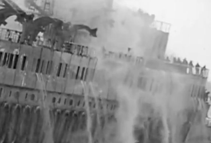 Close up of SS Normandie burning.