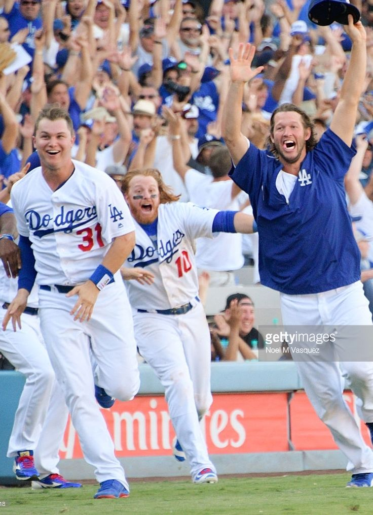 Joc Pederson, Justin Turner, Clayton Kershaw, LAD//Sept 25, 2016 v COL - the Dodgers win the NL West