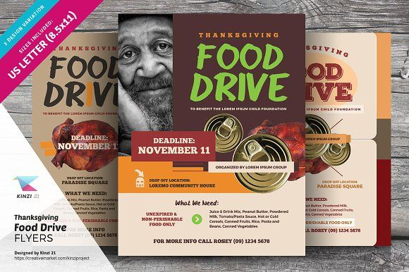 Thanksgiving Food Drive Flyers by kinzi21 on @creativemarket