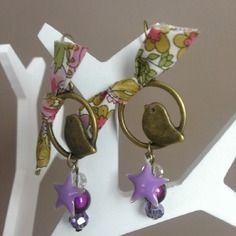 """Boucles d'oreilles """"liberty bird"""" bronze et fleuri"""