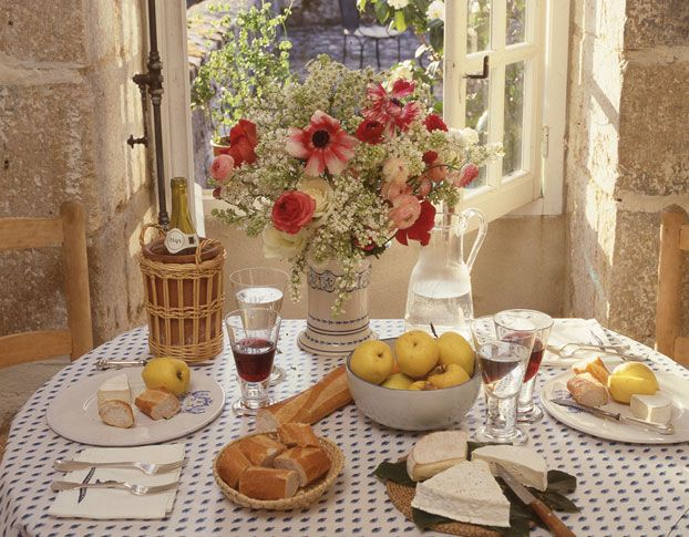 A tablescape at Hubert de Givenchy's La Jonchet manor, 1988.: