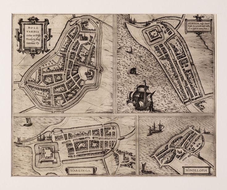 Blad met vier stadsplattegronden door Braun en Hogenberg. 1600 - 1750.