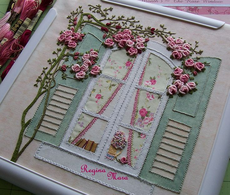 My English Country Garden quilt - Hand embroidery and watercolour painting - block 3
