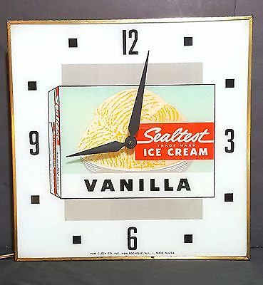 1970's Sealtest Ice Cream Clock Glass Face Lighted Electric Pam Co.Advertising🍨
