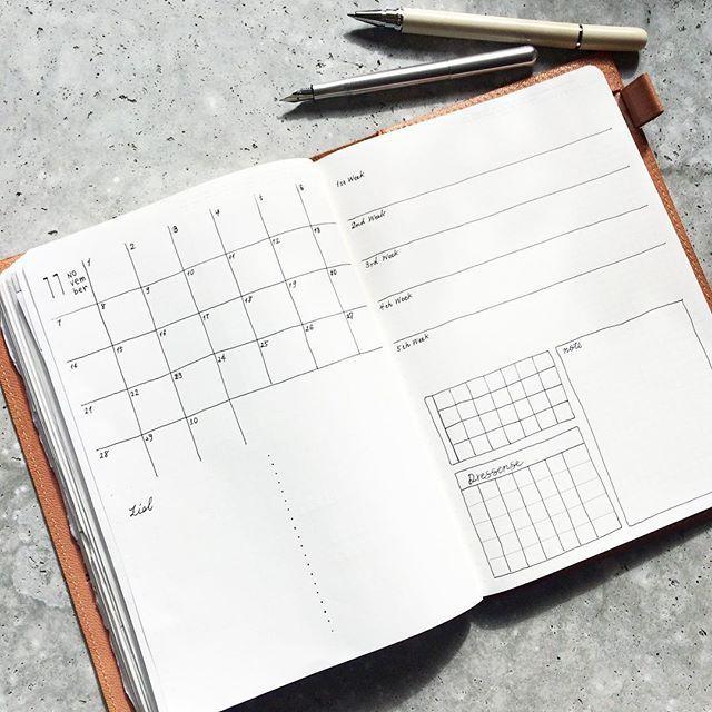Instagram media by dressense.jp - 11月への準備は整いました . . . . . #dressense #journal#schedulebook #ほぼ日もどき#bulletjournal #bujojunkies #MDノートカバーゴート#liliput#recife 2016.10.31