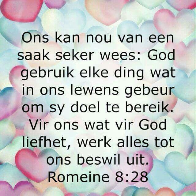 """""""...alles tot ons beswil..."""" Teks - Rom 8:28 #Afrikaans #Scripture"""