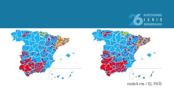 Consulte el resultado electoral por municipios, la candidatura ganadora, la distribución e intensidad del voto a los principales partidos y compare todo ello con los resultados de las anteriores elecciones.