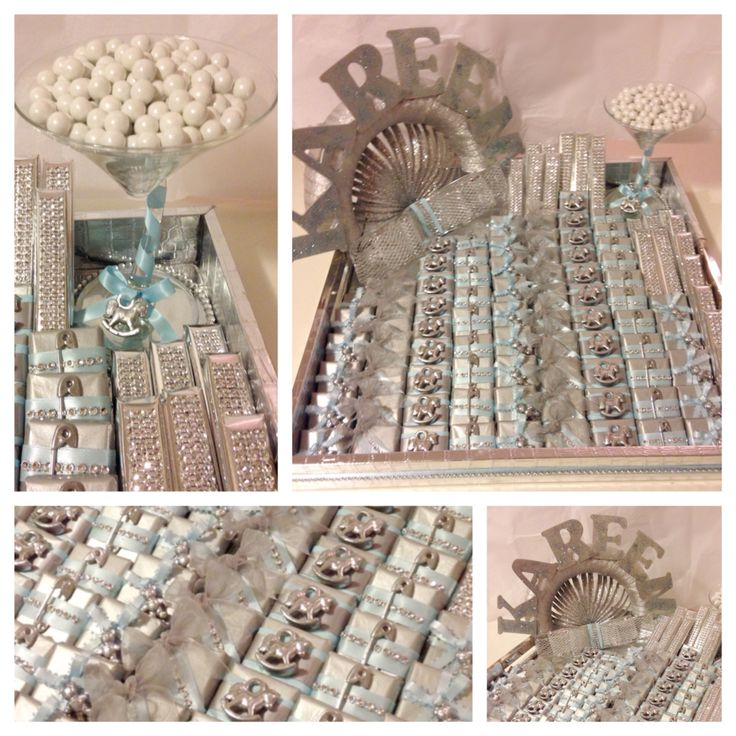 A baby-shower chocolate Favours tray for a baby boy. 100 pieces of fine chocolate pieces decorated one by one.