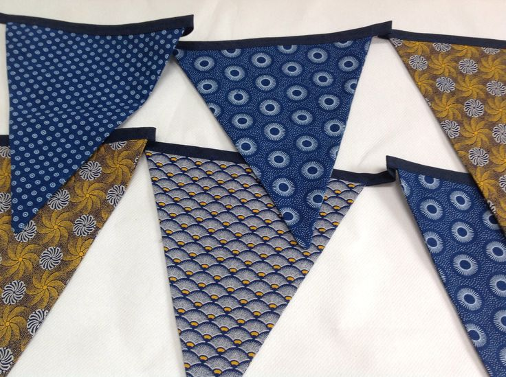 Bunting in gold and indigo