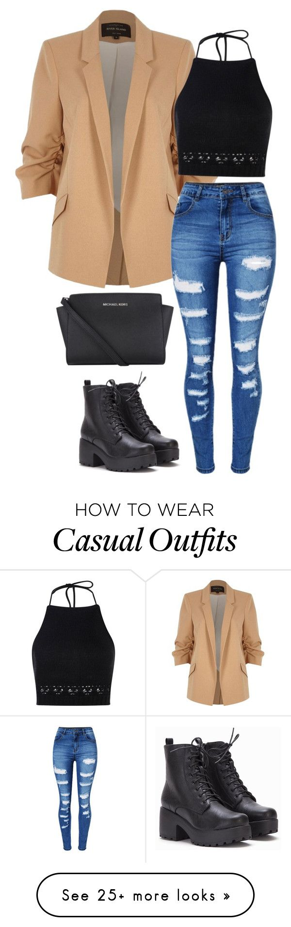 """Casual date night"" by hueninanguyen on Polyvore featuring River Island, Boohoo, WithChic and Michael Kors"