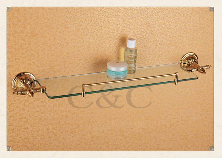 Вешалки для полотенец благородный и элегантный твердой латуни и стекла золотое покрытие ванная комната полка для полотенец держатель 1204