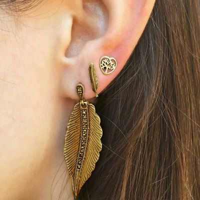 Just US$1.95 + free shipping, buy Vintage Leaves Stud Earrings Suit online shopping at GearBest.com.